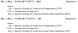 API Gravity Temperature Correction Equation, Formula