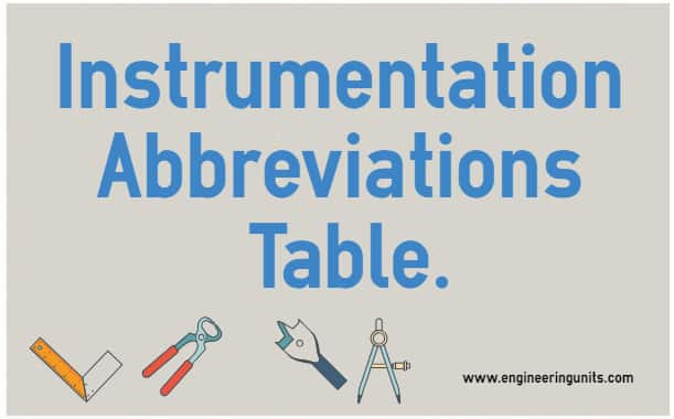 instrumentation abbreviations table